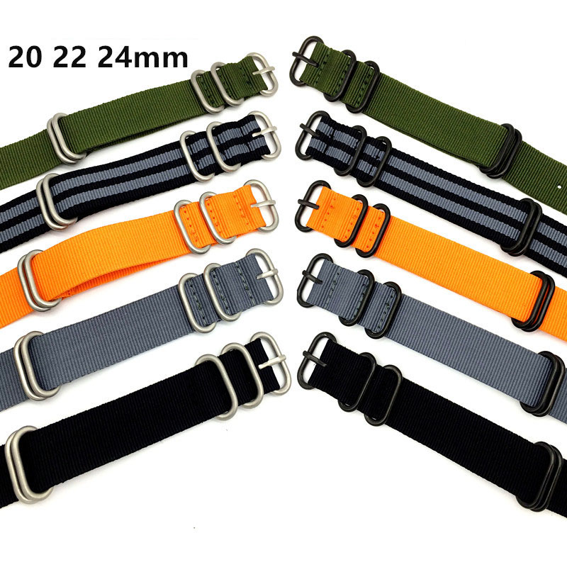 BUMVOR Heavy duty nylon straps 20mm 22mm 24mm Nylon Watch Band NATO Strap Zulu strap watch strap ring buckle high quality 20mm 22mm 24mm leather watch strap man watch straps black brown gray stainless steel buckle thick line watch band
