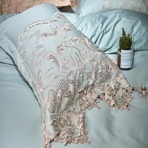 Image 3 - Dantel mısır pamuk kraliçe çift kişilik yatak seti mavi pembe altın yatak takımı lastikli çarşaf nevresim ropa de cama parrure de yaktı
