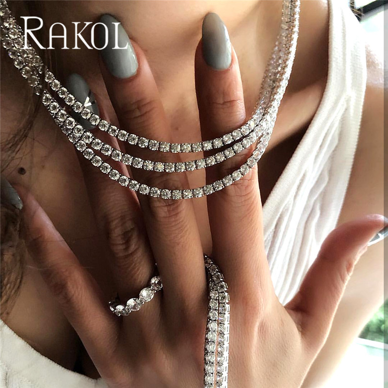 RAKOL Luxury Cubic Zirconia Tennis Chain Necklace Hiphop Top Quality CZ Box Clasp Jewelry For Women Men 3mm 4mm 5mm Round