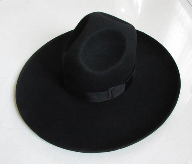 d735f783a71 100% Wool Felt Jewish Hat Men Israel Large Wide Brim 12 cm Black Jew Mens  Fedora Hats for Women