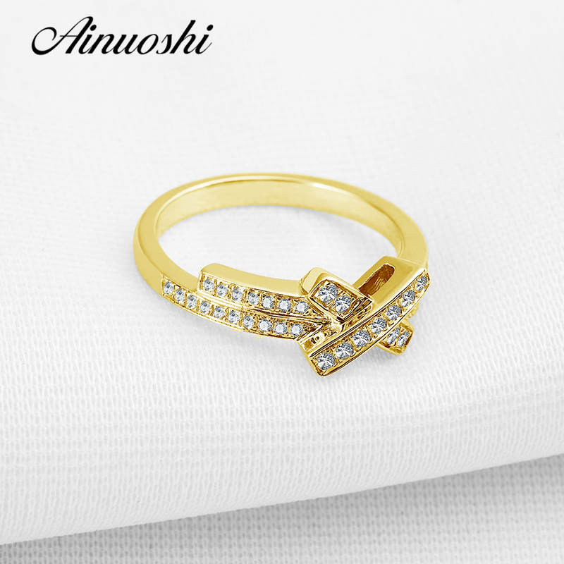 AINUOSHI 10K Solid Yellow Gold Wedding Rings Sona Simulated Diamond Bowknot Shape Promise Fine Jewelry Women Party Wedding Ring ainuoshi 10k solid yellow gold wedding ring sona simulated diamond jewelry lady anillos new flower shape women engagement rings