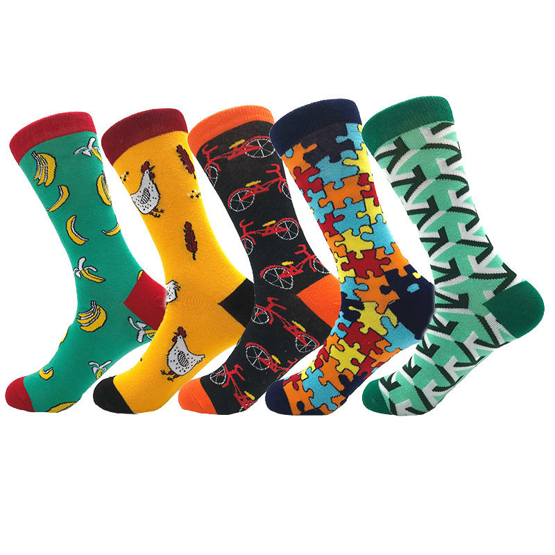 Creative Men's Colorful Striped Cartoon Combed Cotton Happy Socks Crew Wedding Gift Casual Crazy Funny Socks Crazy