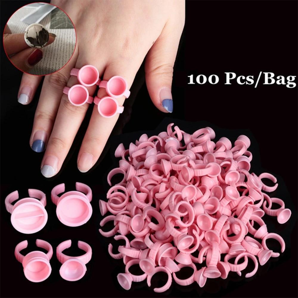 100Pcs Disposable Tattoo Pigment Rings Ink Holder Pallet Eyelash Extension Glue