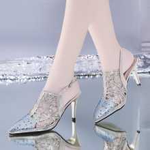 Liren 2019 Summer New Fashion Elegant Lady Rhinestone Decoration Sandals High Thin Heels Point Wrapped Toe Sexy Beautiful Shoes