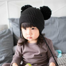 Dual Ball Knitted Baby Caps Cute Children Caps Boys Girls Toddler Crochet Beanie Hairball Ear Baby Hat