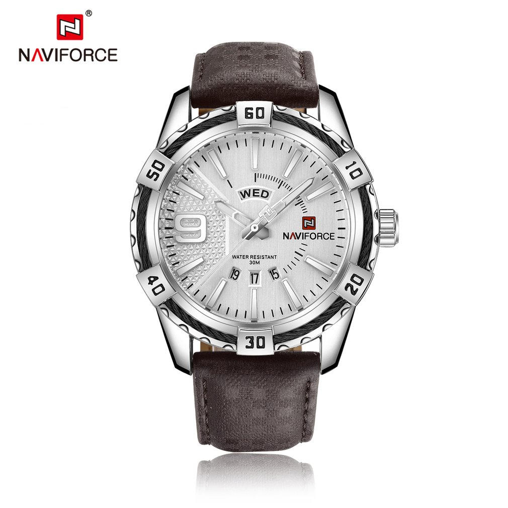 NAVIFORCE Luxury Men Quartz Watch Genuine Leather Waterproof Sports Watches Casual Army Military Date Week Wristwatch Clock