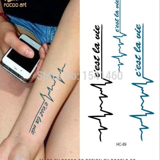 Waterproof Temporary Tattoo Men Women Ecg Letters Pattern Wrist