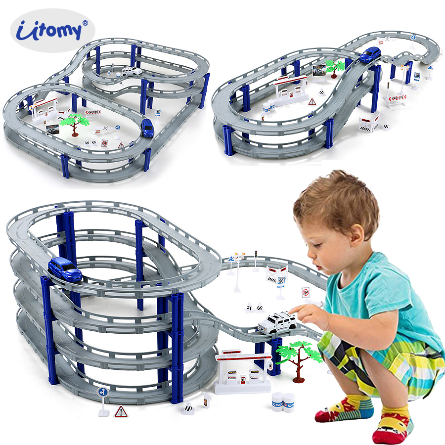 DIY Multi-Track Rail Car Building Block Railway train set,Spiral Track Roller Coaster Electric Car Educational Assembly Toys