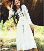 AIGYPTOS Aporia.As 2017 Spring Summer Women Slim National Trend Embroidery Bohemia Flare Sleeve White Chiffon Long Dress
