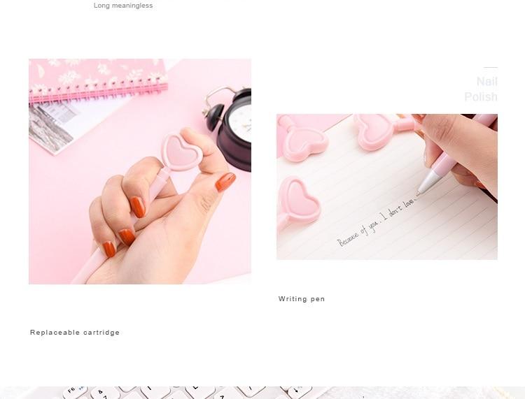 36 pçslote rosa doce coração gel caneta