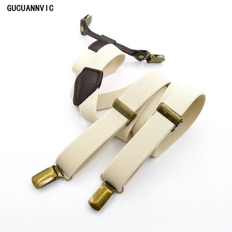 Original Retro Pure Color English 4 Clip Strap Black And Beige Suspenders Bronze CLIP Braces Men And Women In General Adjustable