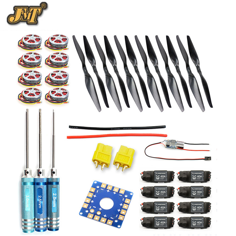 JMT 8-Axis Foldable Rack RC Helicopter Kit KK Connection Board+350KV Brushless Disk Motor+15x5.5 Propeller+40A ESC jmt j510 510mm carbon fiber 4 axis foldable rack frame kit with high tripod for diy helicopter rc airplane aircraft spare parts