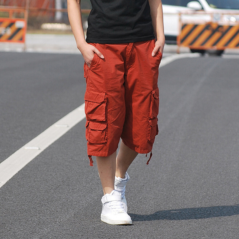 Mens Casual Jogger Cargo Pants Solid Cotton Knee Length Loose Comfortable pants Mens Summer Short for Male pantalon hombre