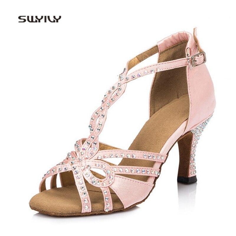 SWYIVY Women Latin Dance Shoes Soft Heel Lady Ballroom Dance Shoes 2018 Rhinestone Female Tango Dance Shoes Thin Heel 7.5cm