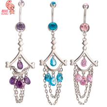 KUNIU New Fashion Woman's Chain Tassel Belly Button Rings Bar Surgical Piercing Sexy Body Jewelry for Women Navel Piercing P0130