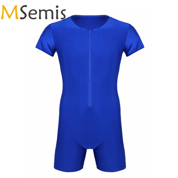 MSemis Mens Bodysuit Leotard Wrestling Singlet Zipper Boxer Thong Body Suit Bodystocking Fashion Clubwear Costumes 1