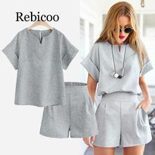 цена на summer Women two piece set Casual Cotton tops + short Soild Female Office plus size Suit Set Short Sleeve Sets