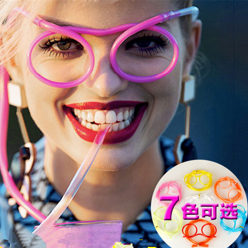wholesale!5PCS Unique Flexible Novelty Soft Glasses Straw Glasses Drinking Tube Fun Drinking