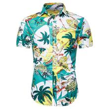 Casual Dress Men Shirt Social Blouse Hawaiian Mens clothing Flower Short sleeve Summer New