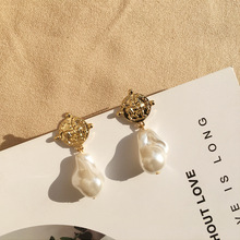 2019 New Dangle Earrings For Female Charm Irregular Pearl with Coin Drop Vintage Jewelry Accessory Gift