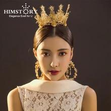 HIMSTORY Luxury Handmade Vintange Gold Peal Crystal Round Hair Crown Tiaras Royal Princess Bridal Wedding Accessory