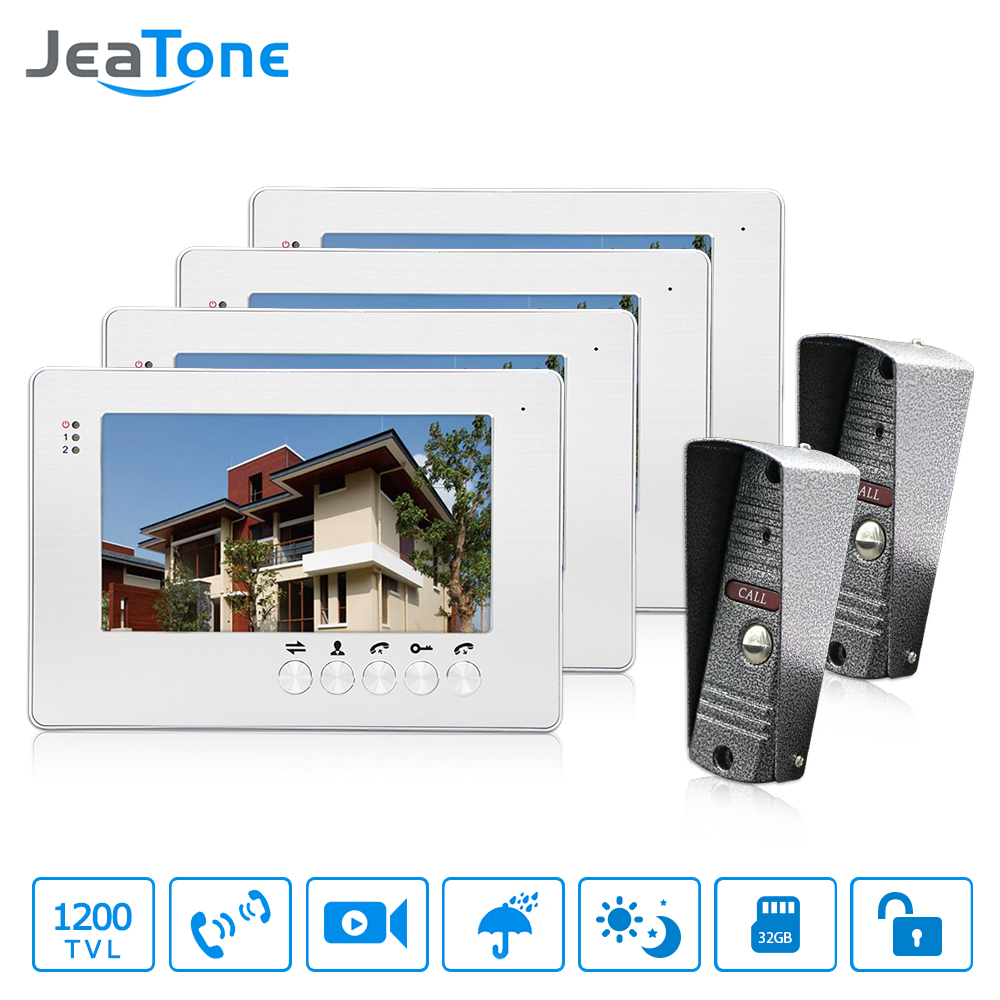 JeaTone NEW 7 inch LCD TFT Color Video Door Phone Intercom System 1200TVL Outdoor Pinhole camera IR Night Vision Unlocking Door tmezon 4 inch tft color monitor 1200tvl camera video door phone intercom security speaker system waterproof ir night vision 1v1