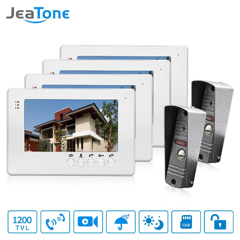 JeaTone NEW 7 Inch LCD TFT Color Video Door Phone Intercom System 1200TVL Outdoor Pinhole Camera IR Night Vision Unlocking Door
