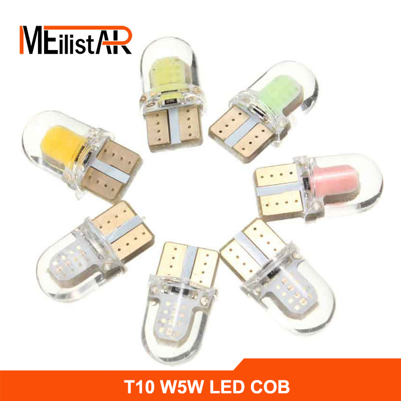 1x Auto LED T10 COB+Silicone shell Chips T10 led W5W Cold white/Crystal blue/Blue Canbus Car side wedge/License plate lamp bulb 10pcs 2watt car auto led t10 cob 194 w5w 1 led smd cob 6 chips wedge light bulb lamp blue white red green pink yellow ice blue