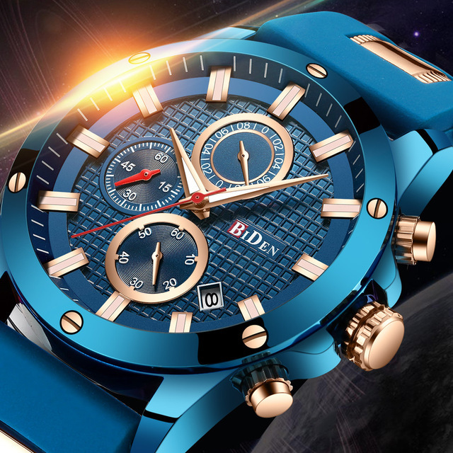 BIDEN часы Роскошные Синие Золотые спортивные мужские часы Лидирующий бренд Модные нержавеющая сталь повседневные мужские наручные часы водонепроницаемые часы