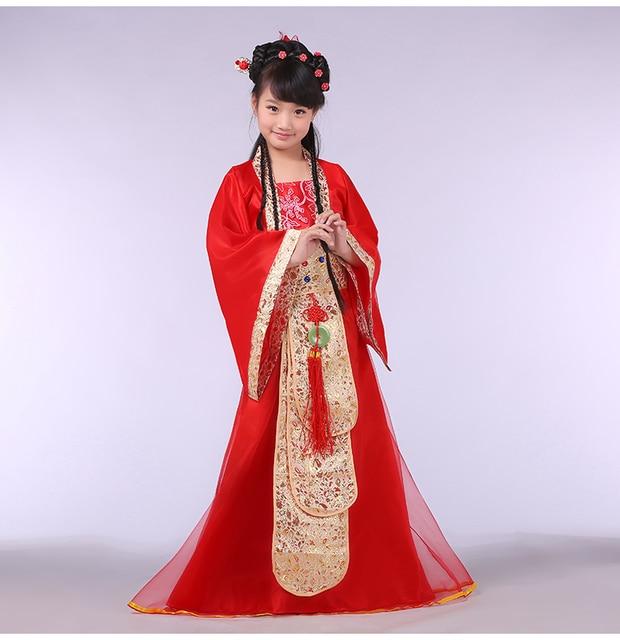 Девушки Хвост Королевский Тан Принцессы Одежда Китайский Древний Фея Танца Костюм Дети Танцуют Одежды Китайский Hanfu Народного Костюма 18