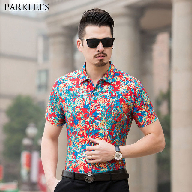 46c36e609c5 Mens Hipster Floral Dress Shirts 2018 Brand New Golden Foil Print Slim Fit  Silk Shirt Summer Short Sleeve High Quality Chemise