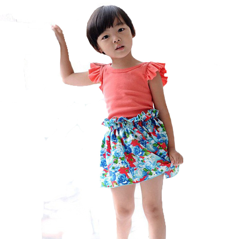 4cec5e59b3cc toddler girls clothing set summer fly sleeve t shirt+flowers skirts ...