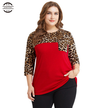 2018 Big Size Womens Shirts Leopard Print Tops Three Quarter Sleeve Pocket Patchwork Tee Shirt Femme Plus Fashions