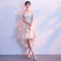 D026 short sleeve champagne mesh short front long back off the shoulder lace short bridal dress