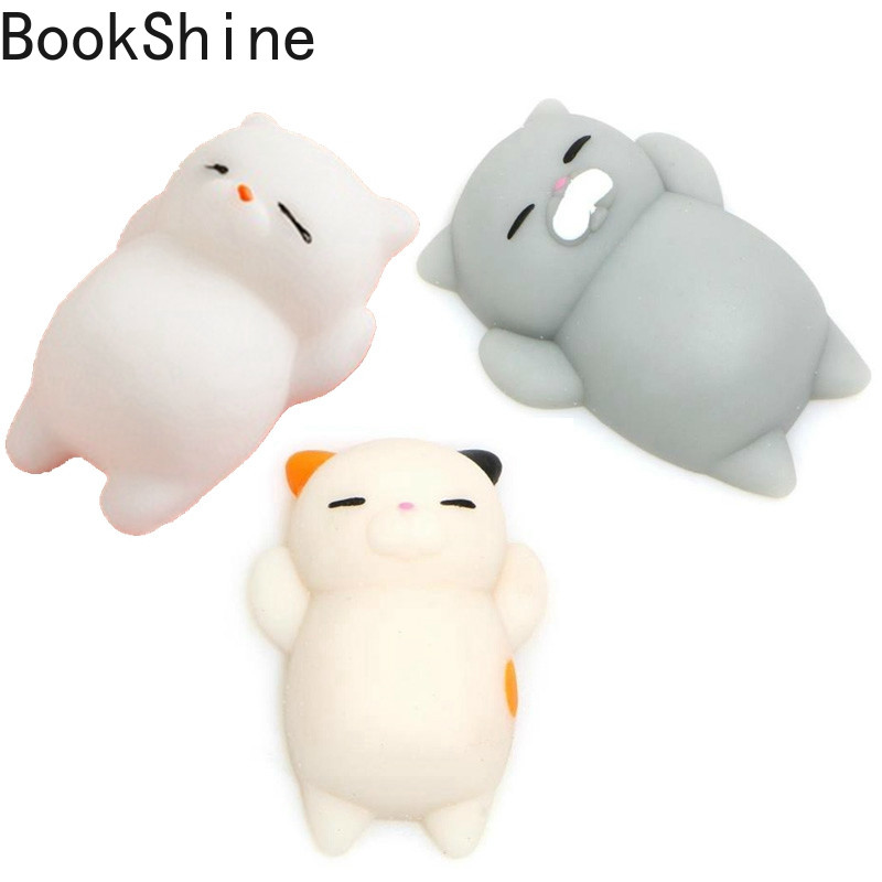 Bookshine 1pc Mini Cute Mochi Squishy Cat Squeeze Healing Kids Kawaii Toy Stress Reliever Decor Animal Noverty Toys Anti Stress
