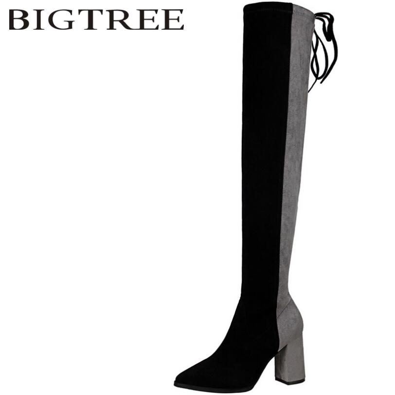 Bigtree 2017 New Autumn Slip-On Women Over -the-knee Boots Sexy Suede Slim Women Motorcycle Thigh High Boots Shoes Woman Black hot faux suede slim boots sexy over the knee high women snow boots women s fashion winter thigh high boots shoes woman black