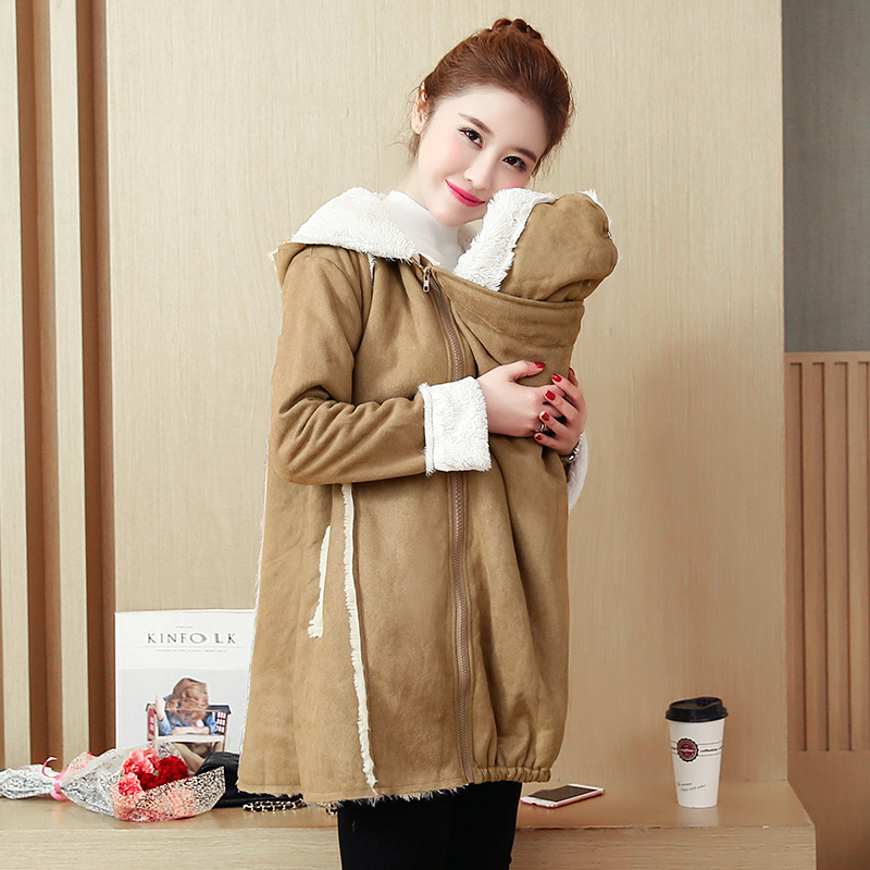678# Suede Fabric Inner Velvet Maternity Jackets Autumn Winter Fashion Baby Carrier Kangaroo Coats for Pregnant Women Pregnancy