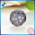 Hot Sell 100% 925 Sterling Silver Cosmic Stars Clip, Violet & Pink CZ Charm Fit Bracelet & Necklace Jewelry Accessories