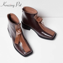 Krazing Pot genuine leather square toe med heels mixed color bowtie butterfly party wedding career office lady ankle boots L16