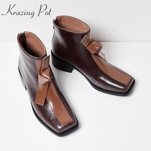 Krazing Pot genuine leather square toe med heels mixed color bowtie  butterfly party wedding career office lady ankle boots L16 7943fa2724c1