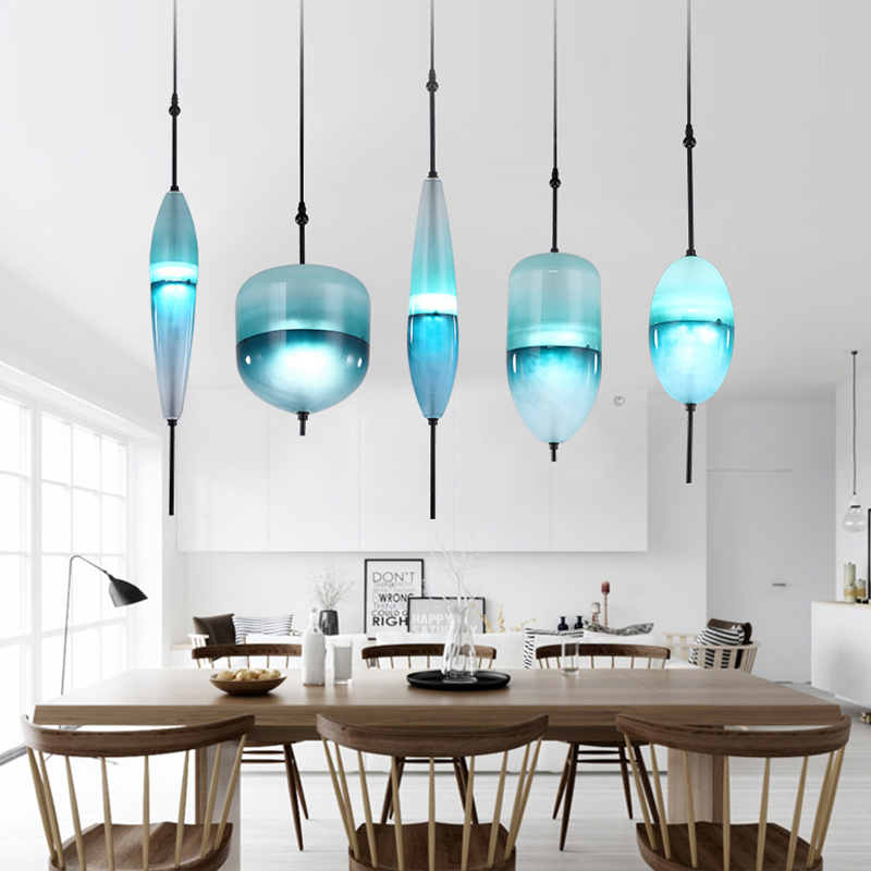 LED Art Deco Huse Gradient Glass Home Decoration Dining Room Pendant Light Lake Blue Color Cafe Bar In Lights From