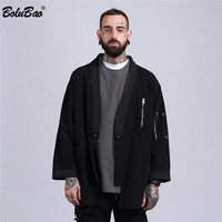 BOLUBAO 2018 New Fashion Europe Japanese High Street Taoist Military Style Jacket Hip Hop Suit Men