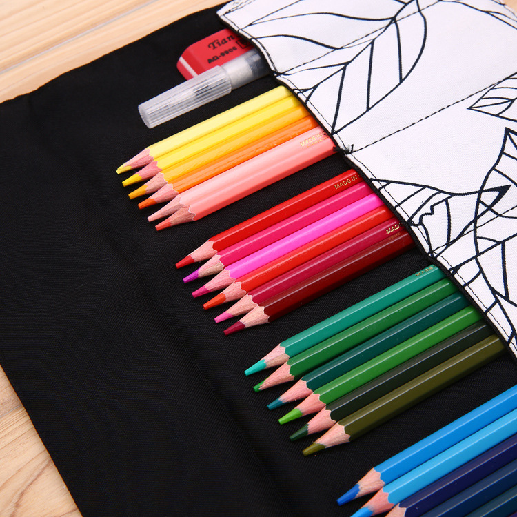 Papeleria Korean Style Leaf Pattern Handmade Canvas Soft Pencil Case  Students Drawing Colored Pencils Storage Bag Roll Up Navy  In Pencil Cases  From Office ...