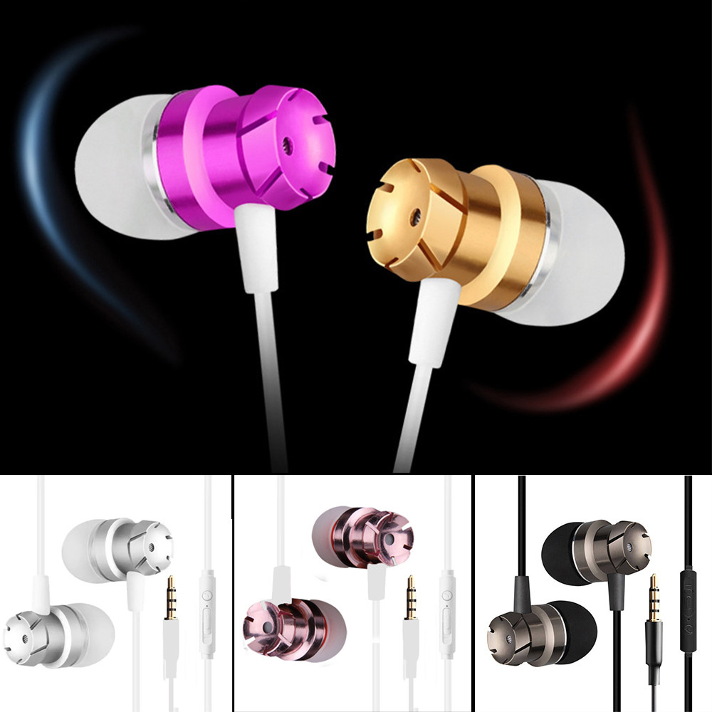 overmal 120cm Newest In-Ear Supper Bass Metal Earbuds Earphone Headphone With microphone 3.5mm for most mobile phones