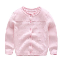 Fake Collar Baby Girl Sweater Candy Color Sweet Princess Cardigan Button Closure Crochet Design Round Toddler Children