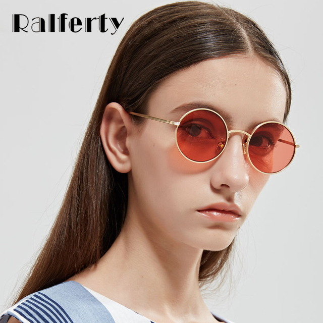 66b1cfeae0 Ralferty Vintage Round Sunglasses Women Men Retro Red Sun Glasses UV400  Small Gold Metal Shades Steam Punk Eyewear Oculos X1317