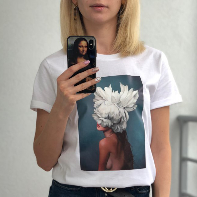 Harajuku 2019 Summer Twin Peak Punk <font><b>T</b></font>-shirt <font><b>Sexy</b></font> Artistic Figure Flowers Print Top <font><b>T</b></font> Shirt Women Vogue Streetwear Clothes Tshirt image