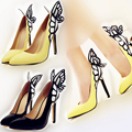 United States vampire diaries female butterfly wings pointed high heels shoes black yellow plus size 35-41 zapatos mujer