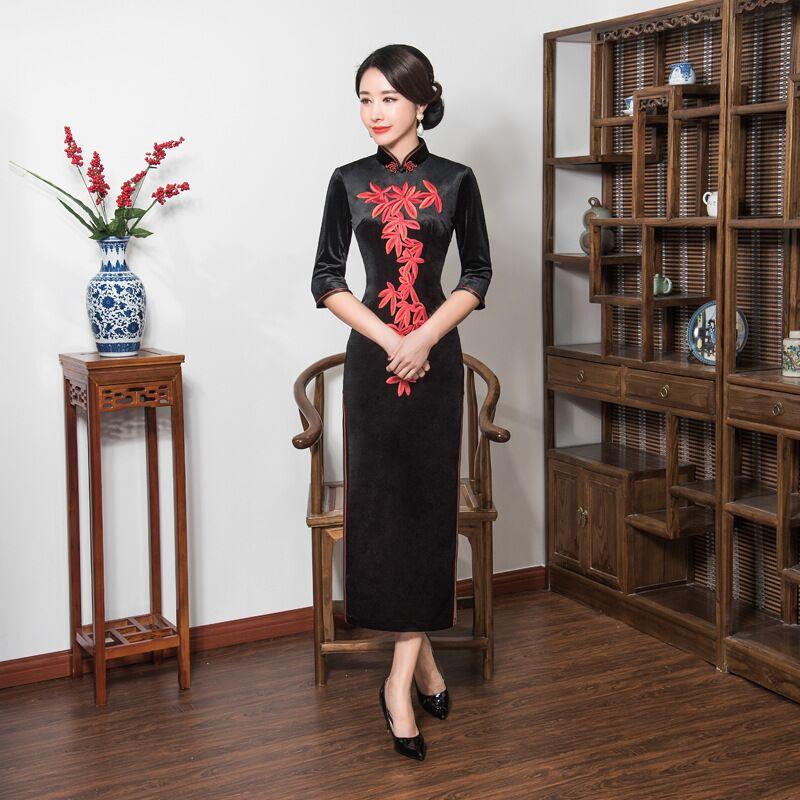 New Arrival Women's Long Cheongsam Fashion Chinese Style Velour Dress Embroidery Qipao Vestidos Size S M L XL XXL XXXL 4XL T0059 женское платье other 2015 o vestidos s m l xl xxl