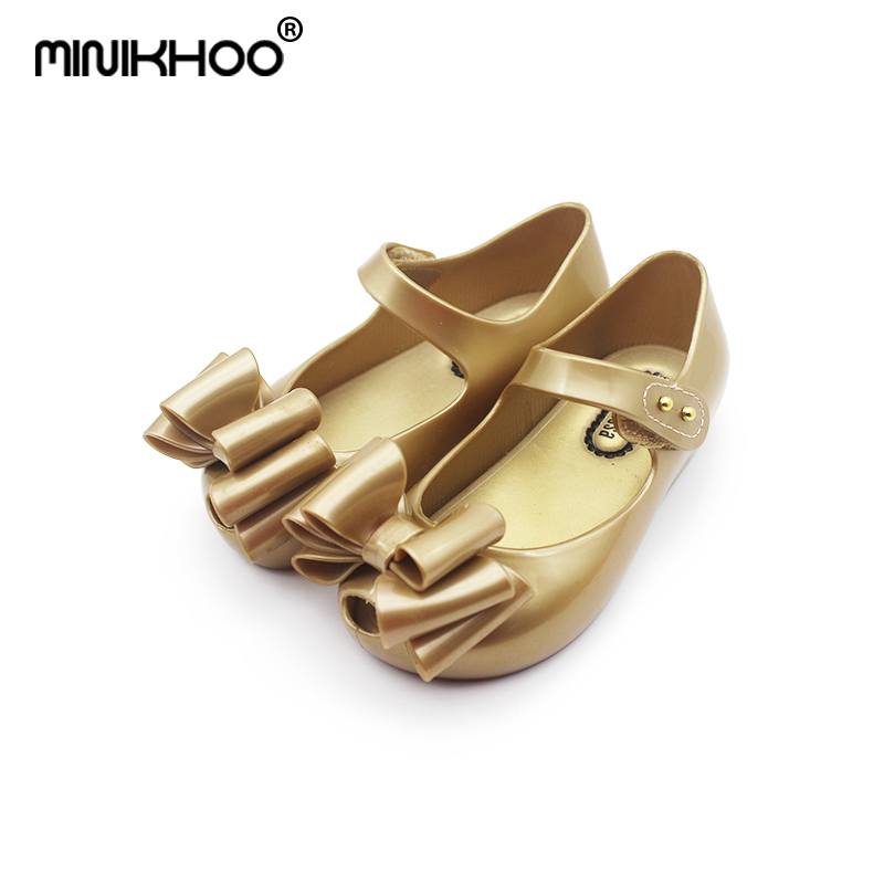 Mini Melissa Shoes 3 Layer Bow Waterproof Non-Slip Jelly Shoes Bow Princess Sandals Soft Savory High Quality Melissa shoes